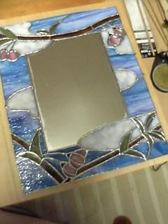 ステンドグラス<鏡> 製作過程